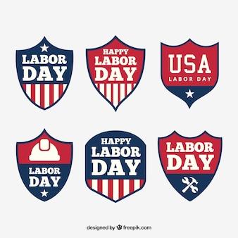 Americani d'epoca distintivi giorno di lavoro impostati