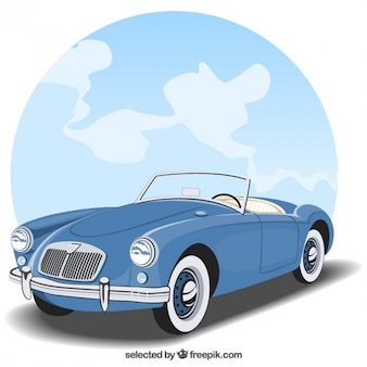 Americano auto blu d'epoca