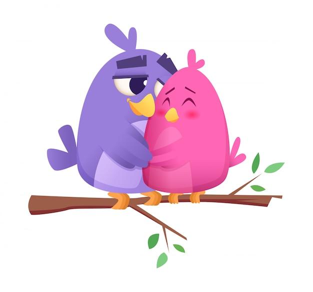 Ami gli uccelli svegli degli animali maschii e femminili delle coppie dell'uccello, che si siedono sul fondo di concetto del biglietto di s. valentino del ramo