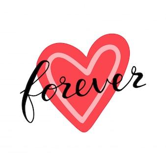 Ami per sempre segnando la carta di citazione sul cuore