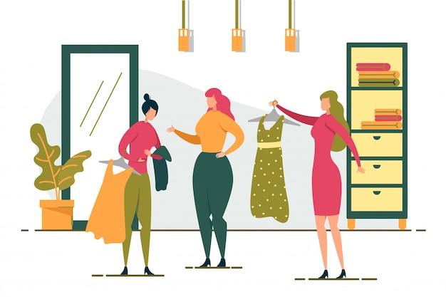 Amiche dello shopping scegli il vestito per la ragazza.