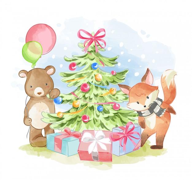 Amici animali con l'illustrazione dell'albero di natale