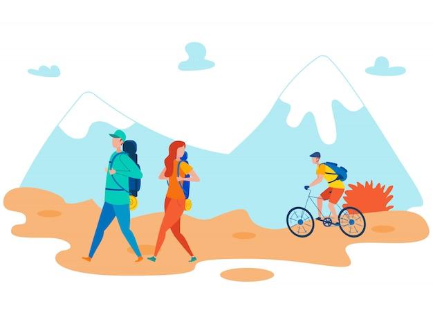Amici che backpacking illustrazione piana di festa