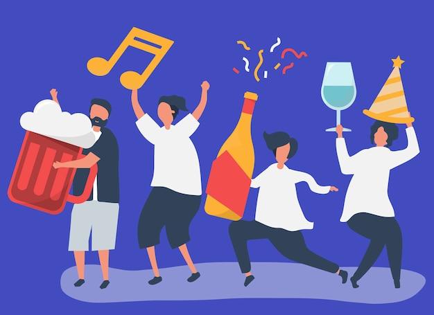 Amici che fanno festa e bevono bevande diverse