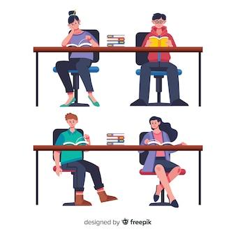 Amici che leggono insieme illustrati