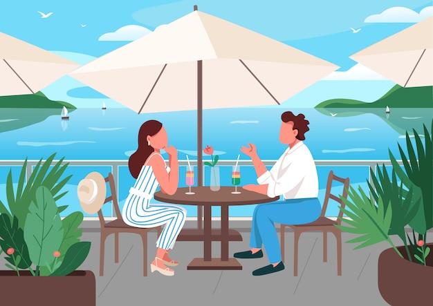 Amici che mangiano colazione nell'illustrazione di colore piatto del caffè della località balneare