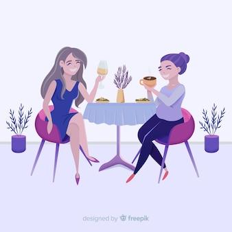 Amici che si diverte in uno sfondo di ristorante