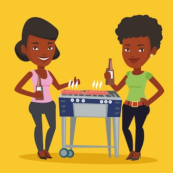 Amici che si divertono alla festa barbecue.