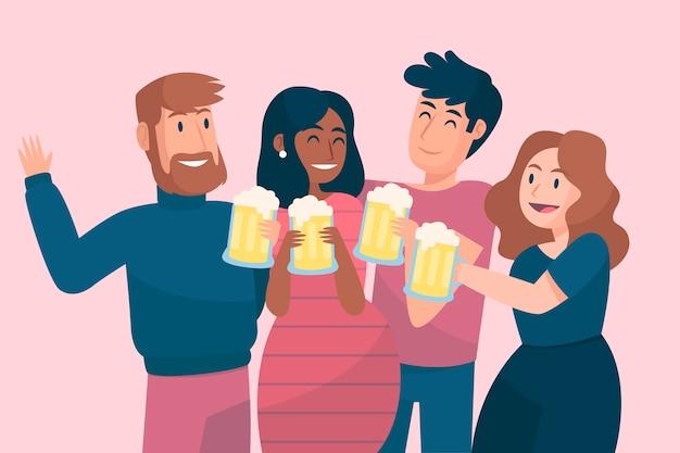 Amici che tostano insieme a bicchieri di birra