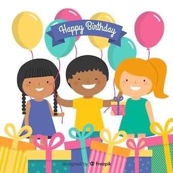Amici con sfondo di regali di compleanno