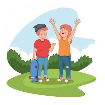 Amici degli adolescenti ai cartoni del parco