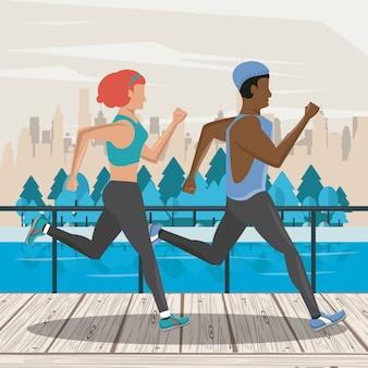 Amici di fitness coppia in esecuzione