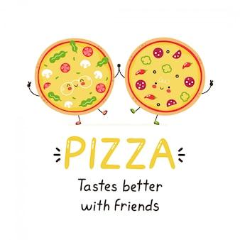 Amici di pizza sorridenti felici svegli. isolato su bianco progettazione dell'illustrazione del personaggio dei cartoni animati di vettore, stile piano semplice. la pizza ha un sapore migliore con la carta degli amici. concetto di cibo per la colazione