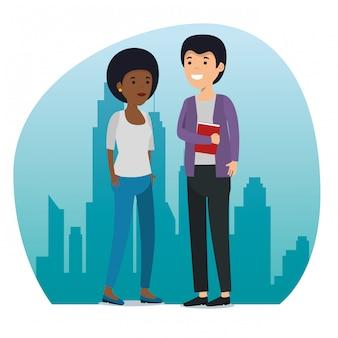 Amici di ragazza e ragazzo con messaggio sociale