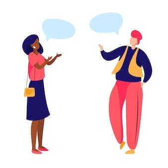 Amici di sesso femminile incontro e conversazione