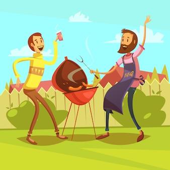 Amici facendo barbecue con salsicce e bevande