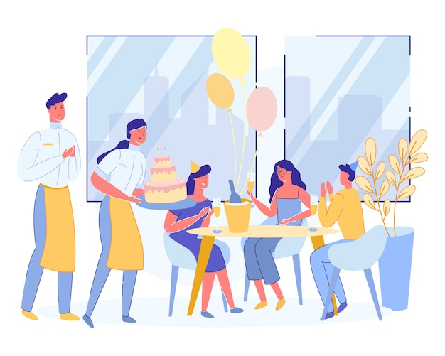 Amici felici che celebrano il compleanno in ristorante