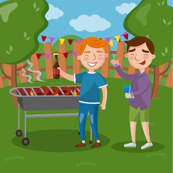 Amici felici che hanno barbecue all'aperto, uomini che cucinano insieme carne, parlando e bevendo birra