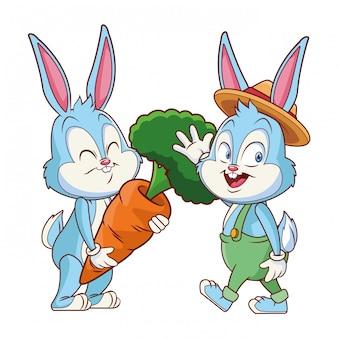 Amici felici del coniglietto di pasqua sveglio che ondeggiano ciao