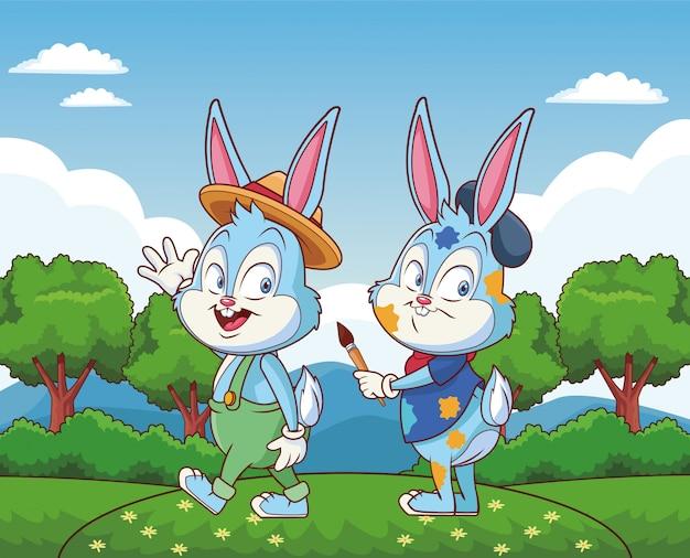 Amici felici del coniglietto di pasqua sveglio sulla foresta