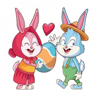 Amici felici del coniglietto di pasqua sveglio