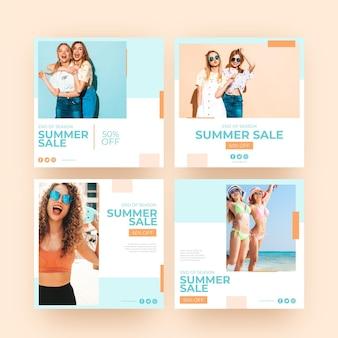 Amici felici della posta di instagram di vendita di estate