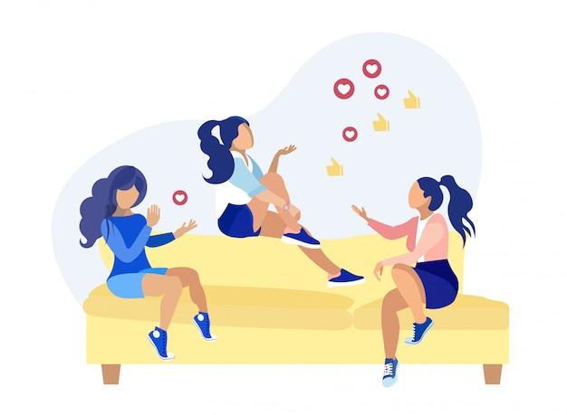 Amici femminili che discutono il fumetto della rete sociale