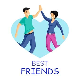 Amici, illustrazione piatto persone sorridenti. uomo e donna dando il cinque in cornice a forma di cuore. emozioni positive, amicizia, personaggi dei cartoni animati delle giovani coppie isolati su bianco