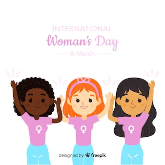 Amici insieme sullo sfondo del giorno della donna