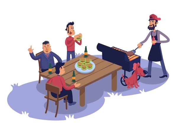 Amici maschii all'illustrazione piana del fumetto del barbecue. uomini che cucinano e mangiano hamburger all'aperto.