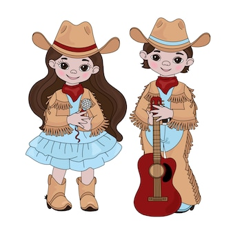 Amici musicali del paese cowboy western