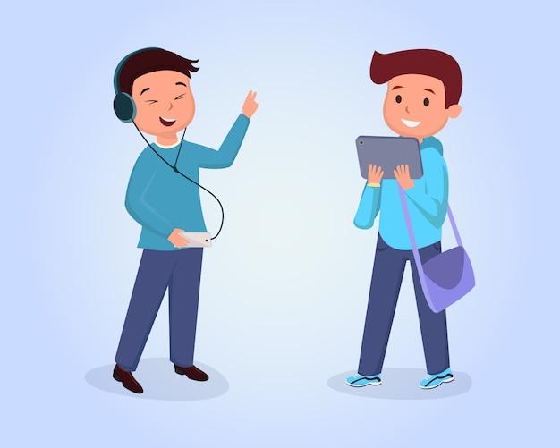 Amici teenager che incontrano illustrazione piana. clipart isolato compagni di classe sull'azzurro