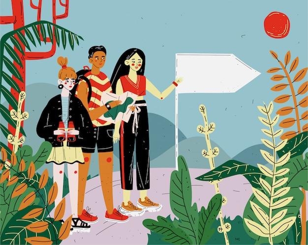 Amici turisti che fanno escursioni, viaggi e trekking