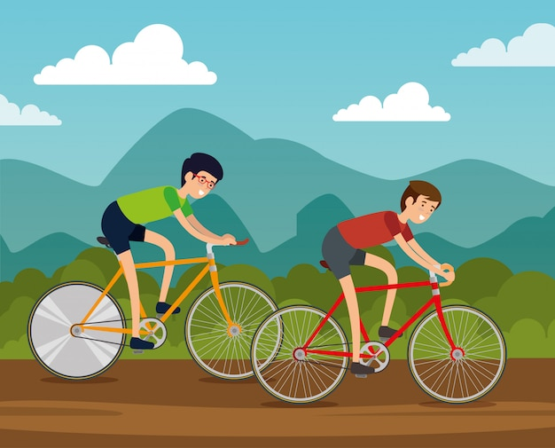 Amici uomini in sella a una bicicletta per fare esercizio