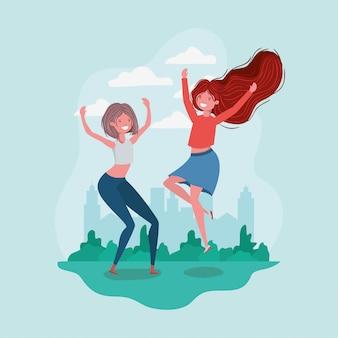 Amicizia di cartoni animati per ragazze