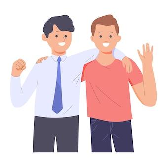 Amicizia di due giovani uomini di diverse professioni, due uomini che si abbracciano a vicenda