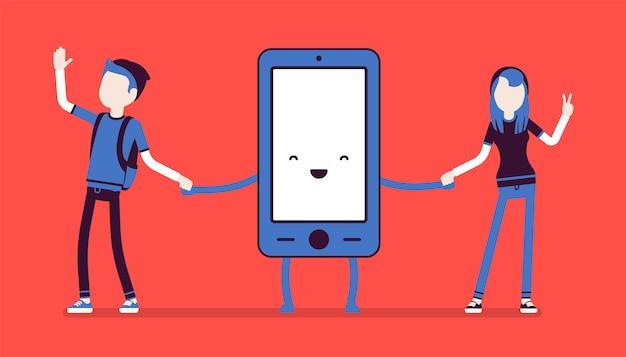Amicizia smartphone con persone