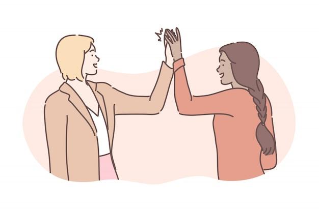 Amicizia, successo, affari, concetto di congratulazioni