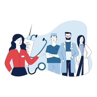Amministratore medico femminile e il suo team in piedi con fiducia