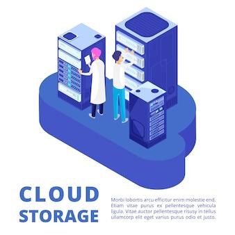 Amministrazione del server e archiviazione cloud isolata on white
