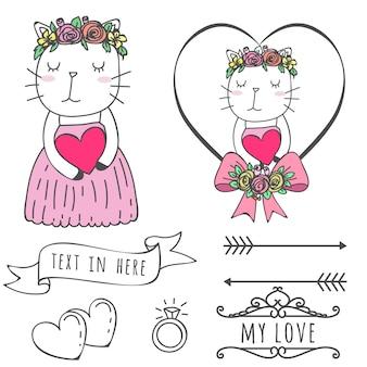 Amo disegnato a mano di nozze del gatto sveglio