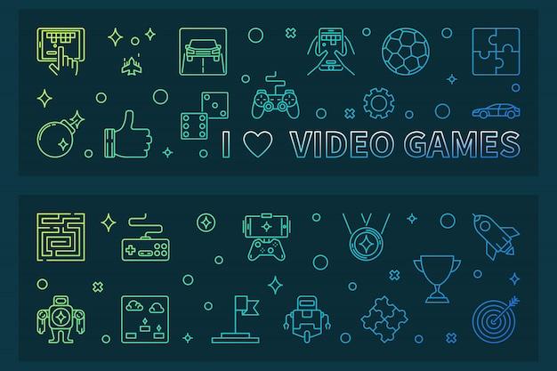 Amo i videogiochi delineare banner colorato