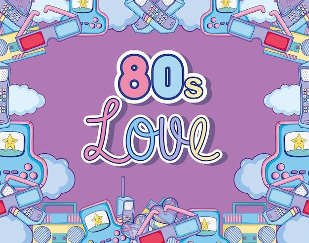 Amo la progettazione grafica dell'illustrazione di vettore della struttura dei fumetti 80s