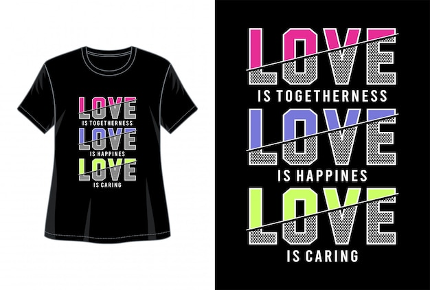 Amo la tipografia per la maglietta stampata