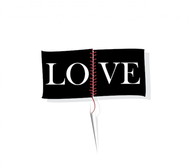 Amo lo slogan con il concetto di ago e filo.