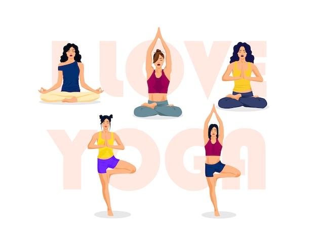 Amo lo yoga, pone l'illustrazione