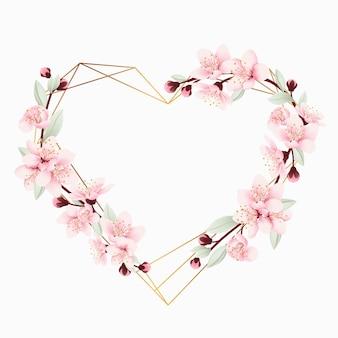 Amo sfondo cornice floreale con fiori di ciliegio
