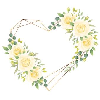 Amo sfondo cornice floreale con rose bianche
