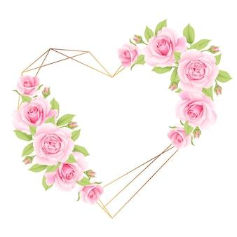 Amo sfondo cornice floreale con rose rosa