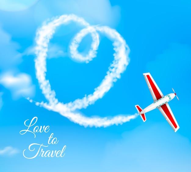 Amo viaggiare a forma di cuore scia di condensazione dell'aeroplano su cielo blu